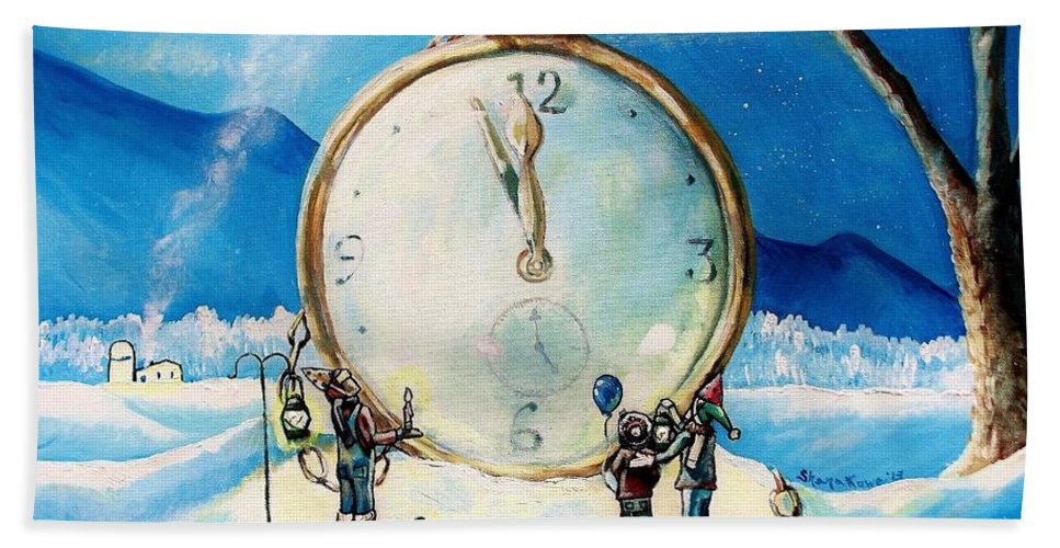 Watch Hand Towel featuring the painting The Big Countdown by Shana Rowe Jackson