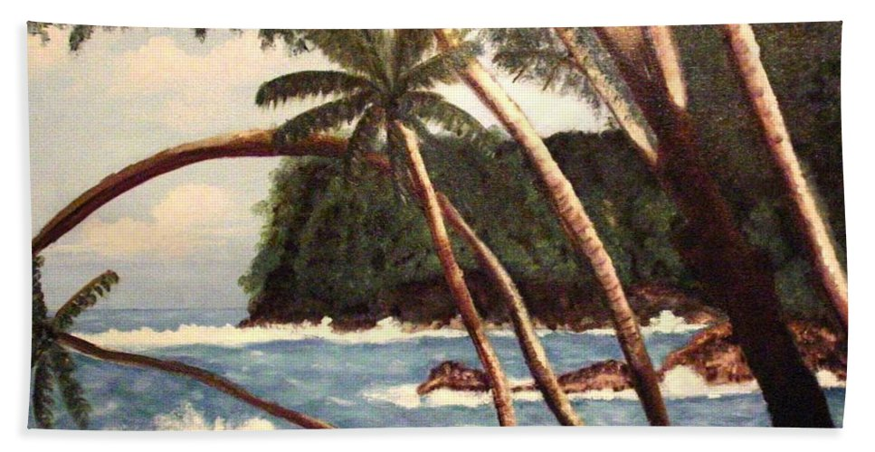 Hawaii Hand Towel featuring the painting The Big Island by Laurie Morgan