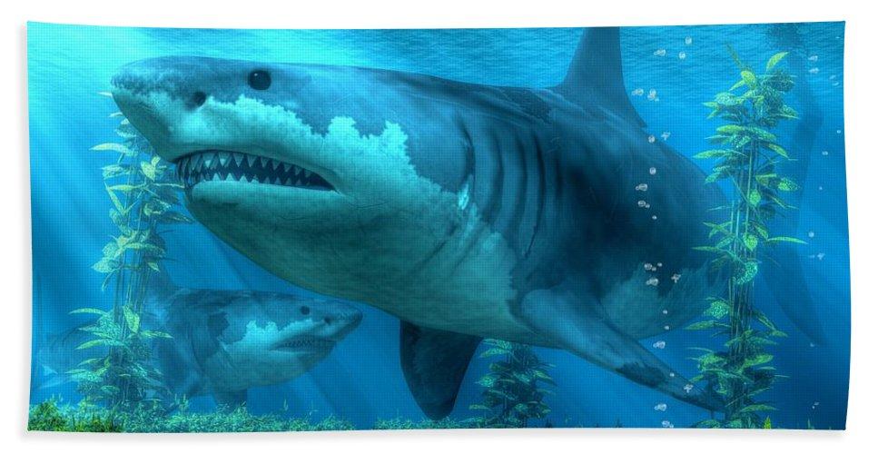 Hand Towel featuring the digital art The Biggest Shark by Daniel Eskridge