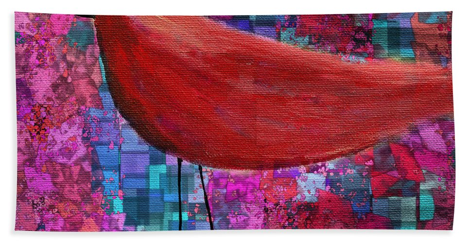 Red Hand Towel featuring the painting The Bird - S23a01bb by Variance Collections