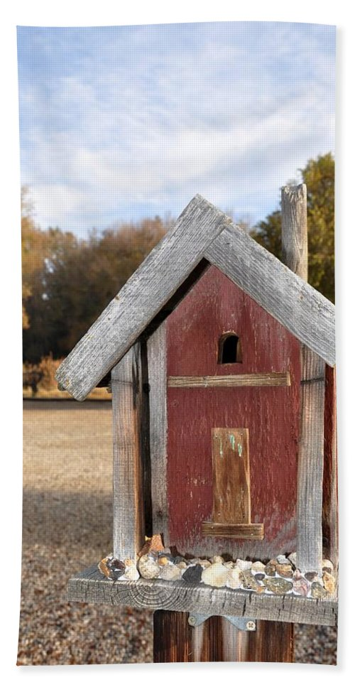Melba; Idaho; Birdhouse; Shelter; Outdoor; Fall; Autumn; Leaves; Plant; Vegetation; Land; Landscape; Tree; Branch; House; Cross; Hand Towel featuring the photograph The Birdhouse Kingdom - Western Bluebird by Image Takers Photography LLC - Carol Haddon
