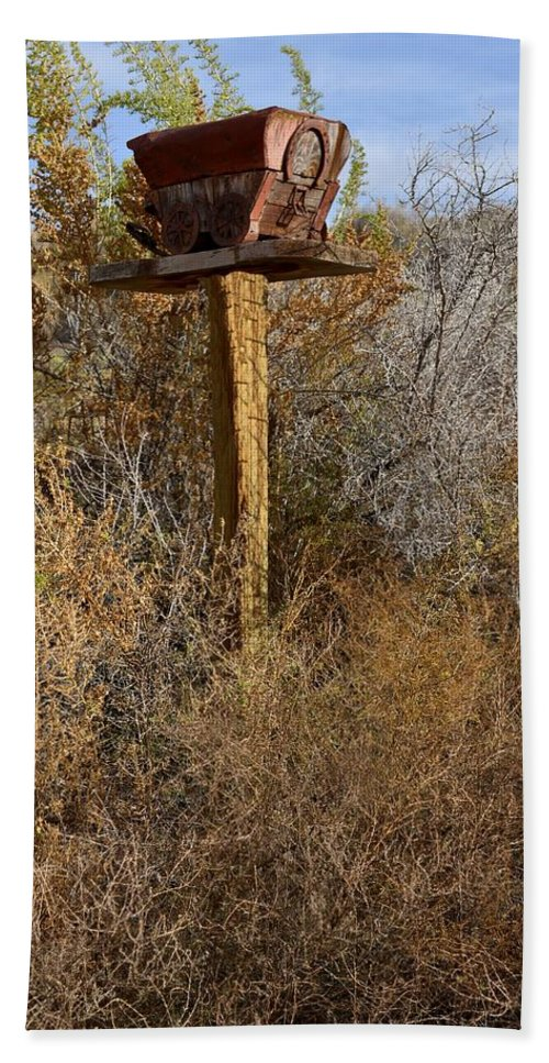 Melba; Idaho; Birdhouse; Shelter; Outdoor; Fall; Autumn; Leaves; Plant; Vegetation; Land; Landscape; Tree; Branch; House; Wagon; Hand Towel featuring the photograph The Birdhouse Kingdom - Western Kingbird by Image Takers Photography LLC