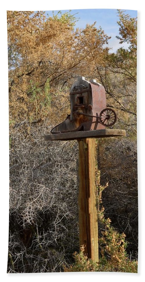 Melba; Idaho; Birdhouse; Shelter; Outdoor; Fall; Autumn; Leaves; Plant; Vegetation; Land; Landscape; Tree; Branch; House; Spur Hand Towel featuring the photograph The Birdhouse Kingdom - Cowbird Home by Image Takers Photography LLC - Carol Haddon