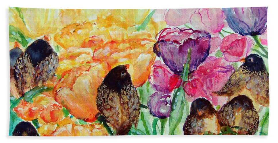 Birds Hand Towel featuring the painting The Birds Of Spring Shower Blessings On You by Ashleigh Dyan Bayer