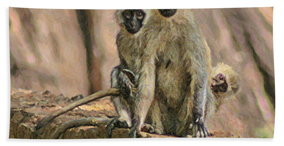 Buffalo Springs Hand Towel featuring the digital art The Black-faced Vervet Monkey by Liz Leyden