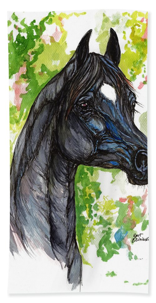 Psychodelic Hand Towel featuring the painting The Black Horse 1 by Angel Ciesniarska