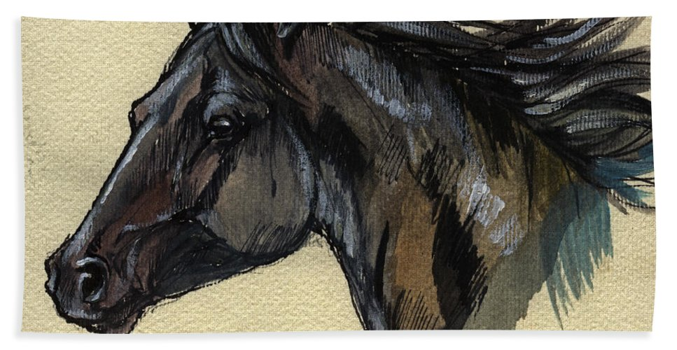 Horse Bath Sheet featuring the painting The Black Horse by Angel Ciesniarska