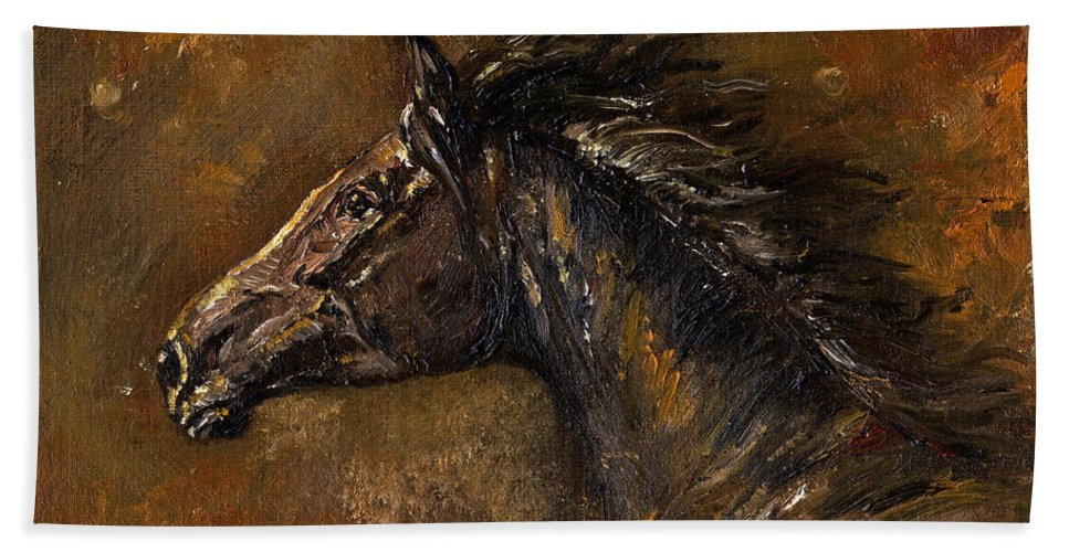 Horse Bath Towel featuring the painting The Black Horse Oil Painting by Angel Ciesniarska