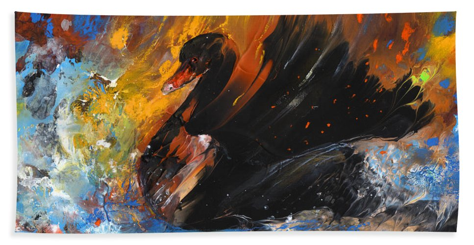 Fantasy Hand Towel featuring the painting The Black Swan by Miki De Goodaboom