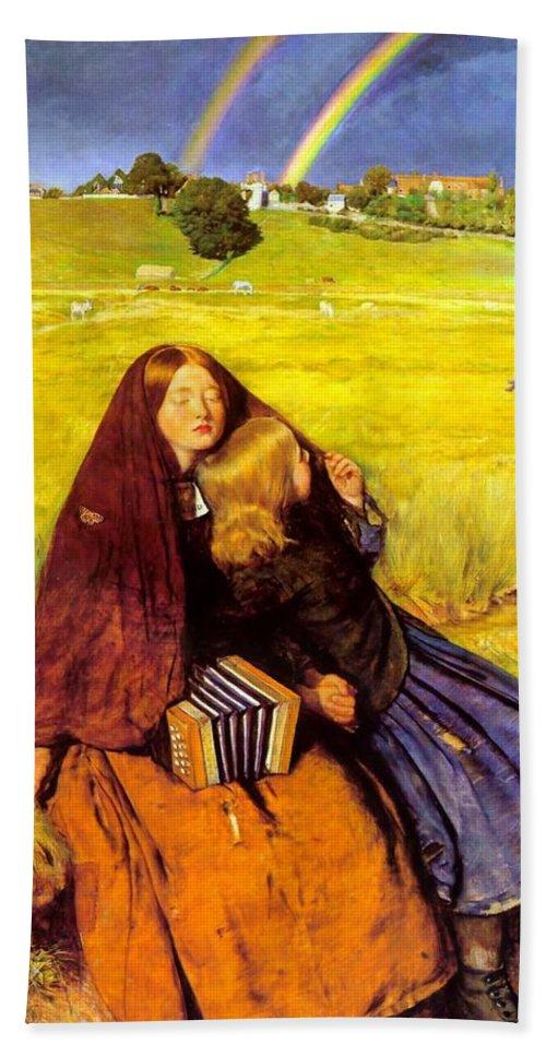 John Everett Milais Bath Sheet featuring the digital art The Blind Girl by John Everett Millais