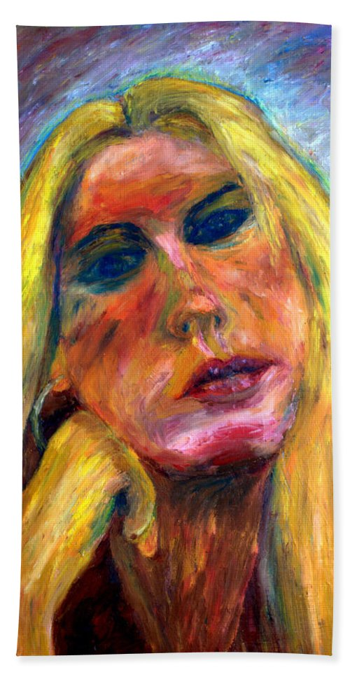 Oil Stick Painting On Paper Hand Towel featuring the painting The Blonde 2 by Rachid Hatni