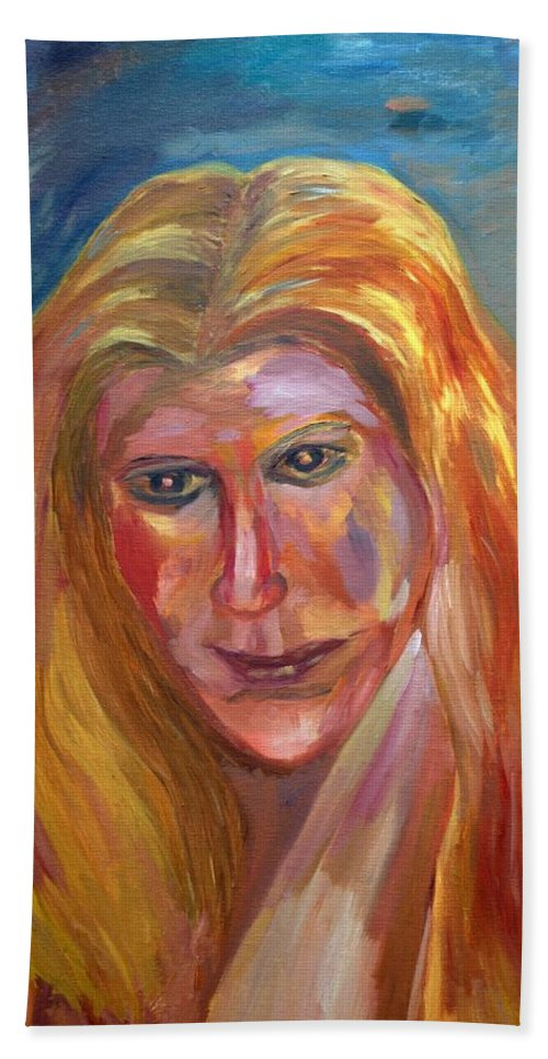 Oil Painting On Canvas Hand Towel featuring the painting The Blonde by Rachid Hatni
