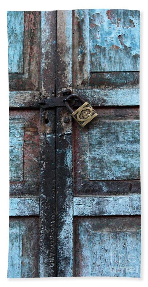 Doors Bath Sheet featuring the photograph The Blue Door 2 by James Brunker