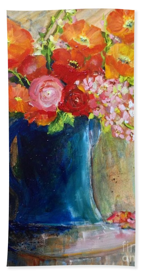Red Poppies Bath Sheet featuring the painting The Blue Jug by Sherry Harradence