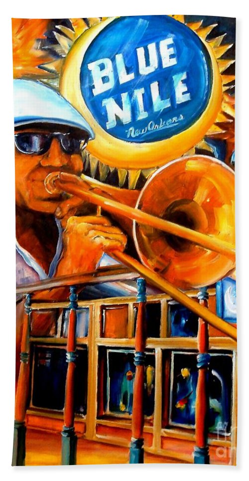 New Orleans Bath Sheet featuring the painting The Blue Nile Jazz Club by Diane Millsap