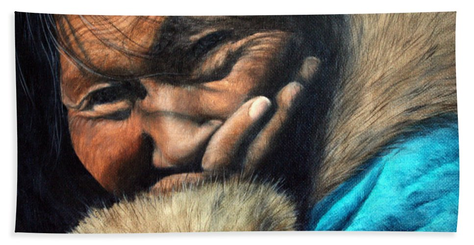 Inuit Hand Towel featuring the painting The Blue Parka by Joey Nash