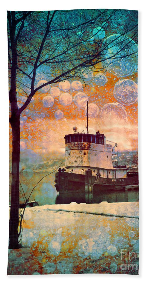 Boat Hand Towel featuring the photograph The Boat In Winter by Tara Turner