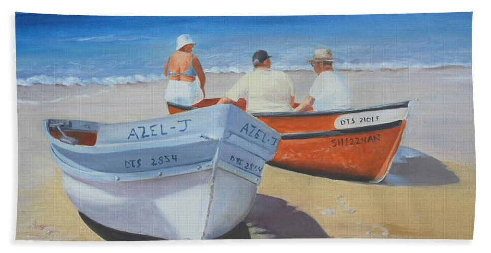 Boat Hand Towel featuring the painting The Boaters by Susie Bell