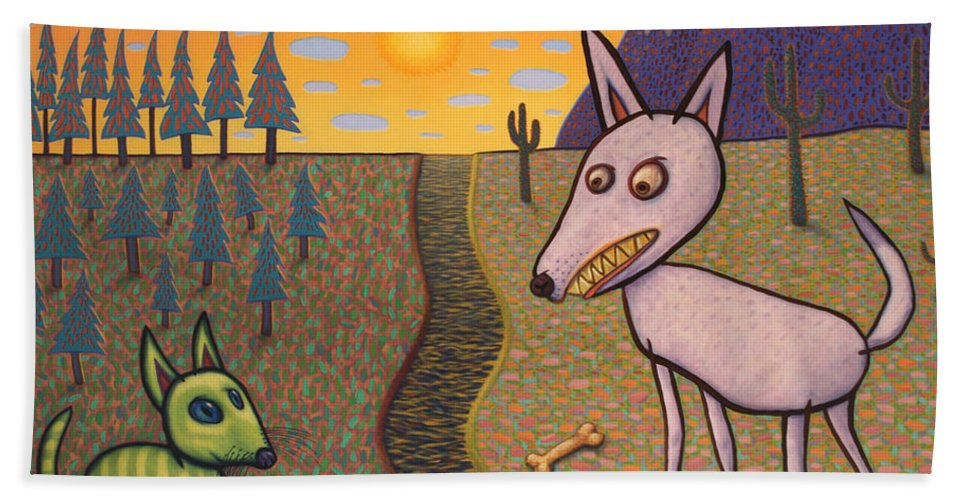 Border Hand Towel featuring the painting The Border by James W Johnson
