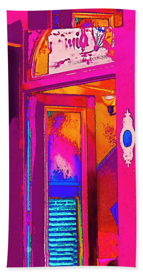 Bright Colorful Modern Contemporary Photograph Digitally Manipulated And Color Enhanced Bath Sheet featuring the digital art The Boutique Upstairs by Expressionistart studio Priscilla Batzell