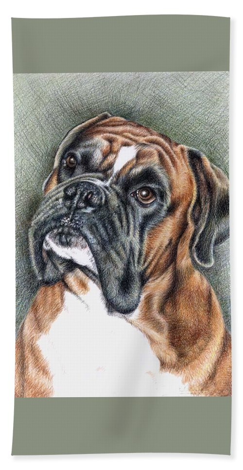 Dog Hand Towel featuring the drawing The Boxer by Nicole Zeug