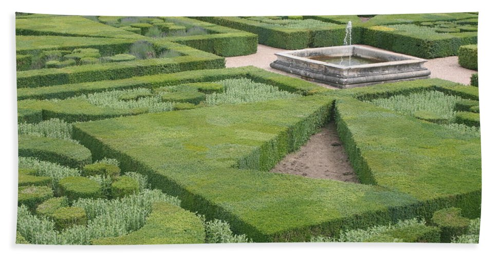 Boxwood Bath Sheet featuring the photograph The Boxwood Garden At Chateau Villandry by Christiane Schulze Art And Photography