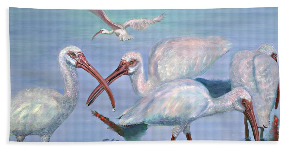 Water Fowl Hand Towel featuring the painting The Boyz by Peter Bonk