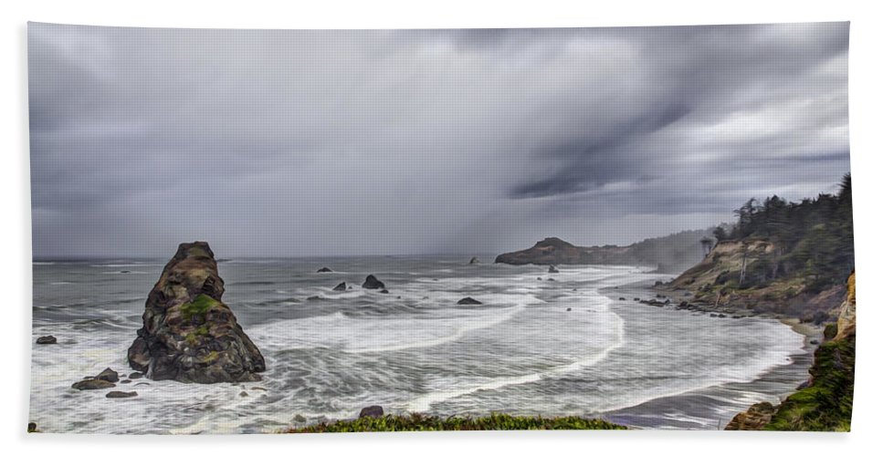 Gold Beach Bath Sheet featuring the photograph The Brewing Storm by Debra and Dave Vanderlaan
