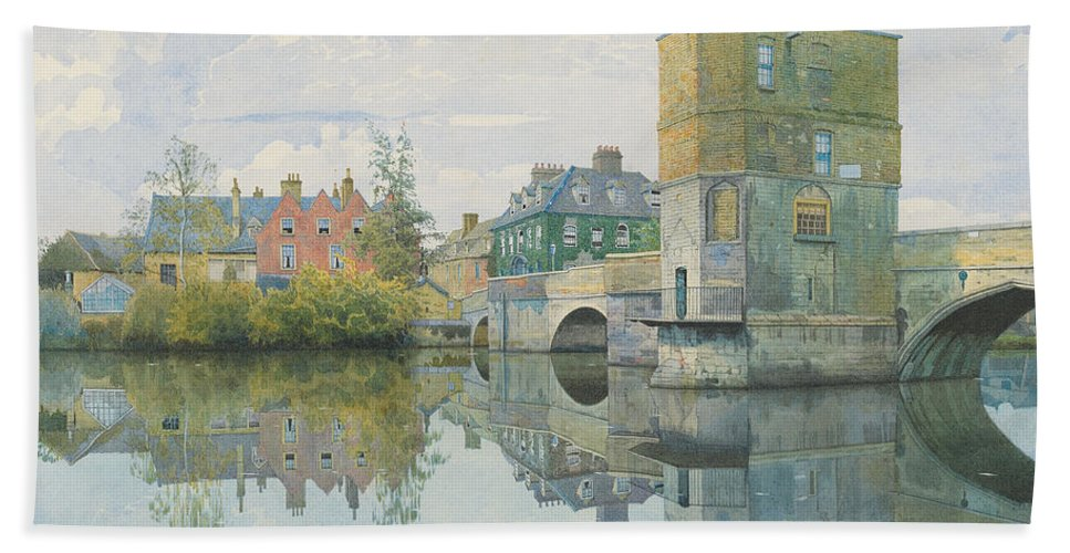 Bridge Bath Sheet featuring the painting The Bridge At Saint Ives by William Fraser Garden