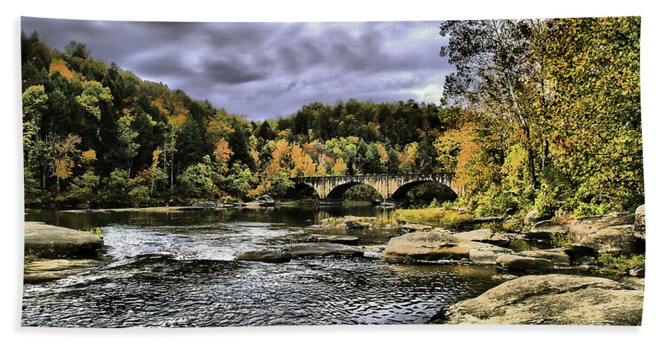 Rural Bath Sheet featuring the photograph The Bridge by Ken Frischkorn