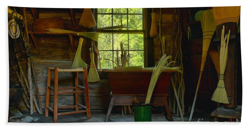 Brooms Bath Sheet featuring the photograph The Broom Room by Adam Jewell