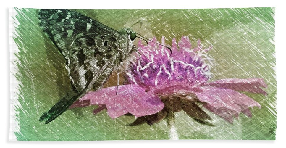 Butterfly Bath Sheet featuring the photograph The Butterfly Visitor by Carol Groenen