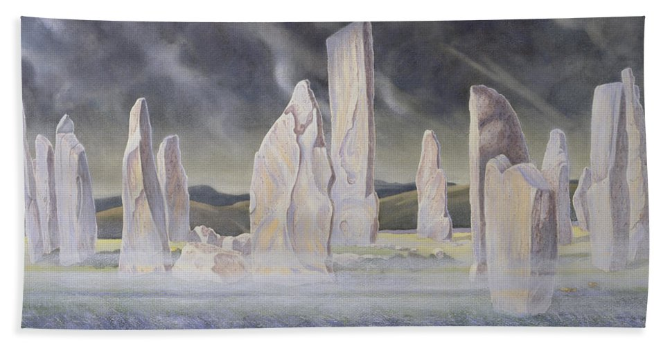 Landscape; Standing Stone; Circle; Neolithic Monument; Ancient; Outer Hebrides; Mist; Night; Moonlight; Ghostly; Celtic Hand Towel featuring the painting The Callanish Legend Isle Of Lewis by Evangeline Dickson