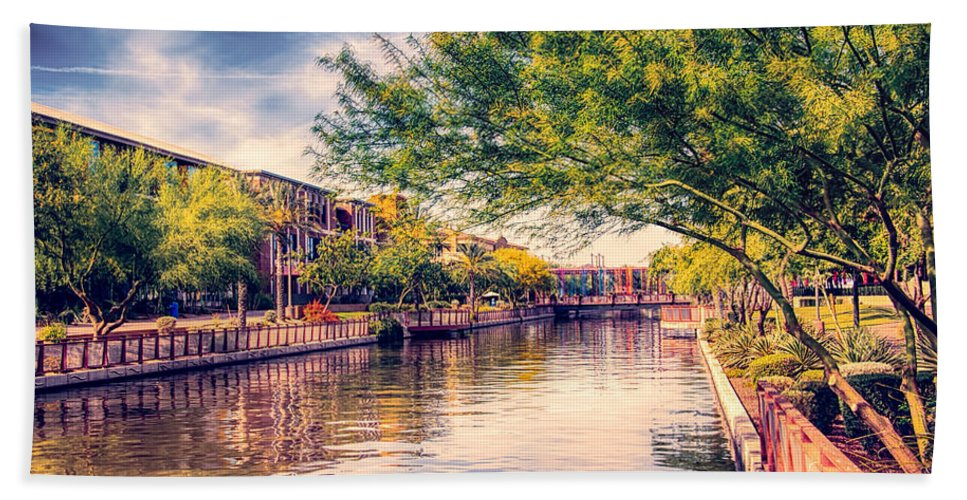Fred Larson Hand Towel featuring the photograph The Canal In Downtown Scottsdale by Fred Larson