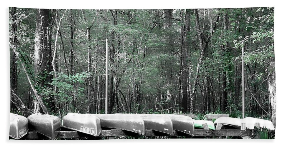 Canoes Hand Towel featuring the photograph The Canoes by Debra Forand