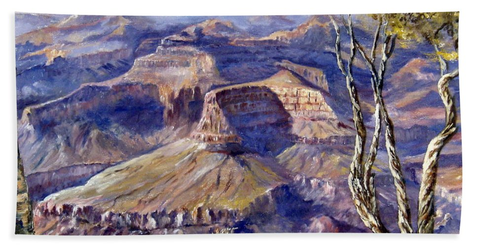 Arizona Hand Towel featuring the painting The Canyon by Lee Piper