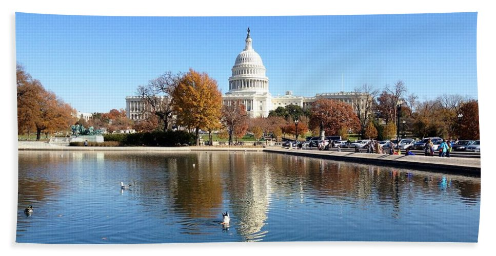 Capitol Bath Sheet featuring the photograph The Capitol In Fall by Lois Ivancin Tavaf