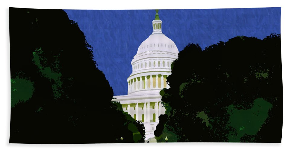 Capitol Hand Towel featuring the painting The Capitol by Pharris Art