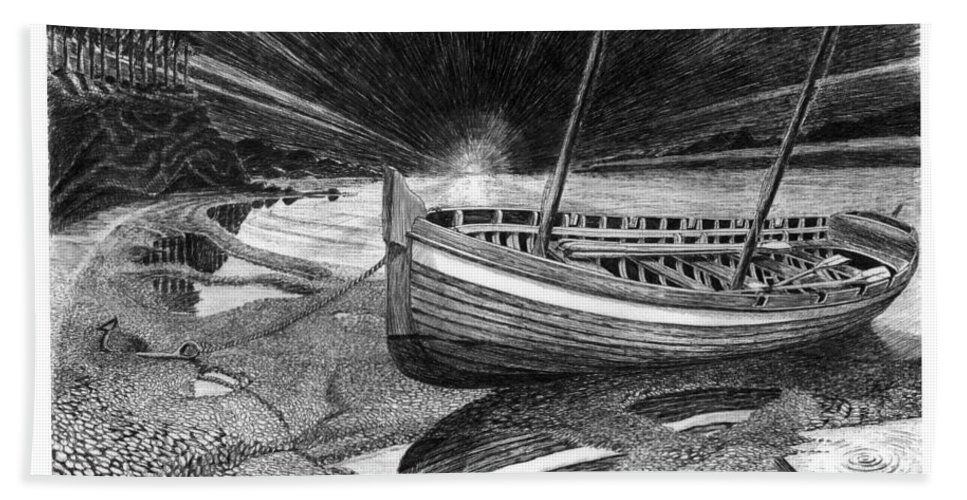 Artwork Of Yachts Bath Sheet featuring the drawing Captain Vancouvers Gig by Jack Pumphrey