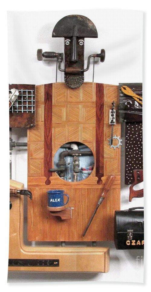 Czappa Bath Sheet featuring the sculpture The Carpenter  #16 by Bill Czappa