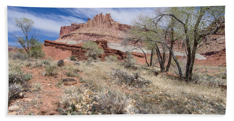 Capitol Reef Hand Towel featuring the photograph The Castle by Greg Nyquist