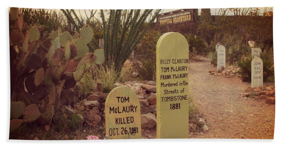 Famous Graveyards Bath Sheet featuring the photograph The Cemetery At Boothill by John Malone