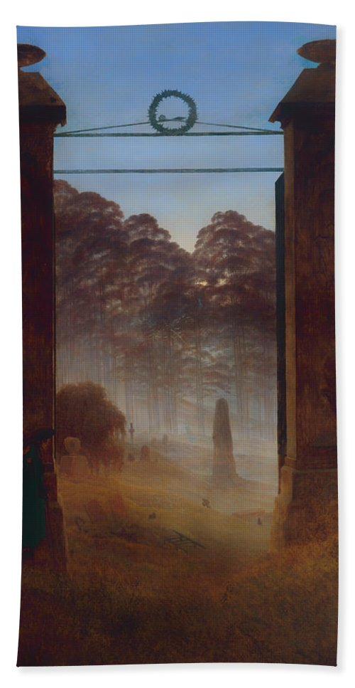Painting Bath Sheet featuring the painting The Cemetery by Mountain Dreams