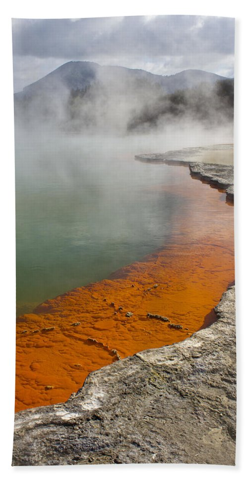 New Zealand Bath Sheet featuring the photograph The Champagne Pool At Wai O Tapu by Venetia Featherstone-Witty