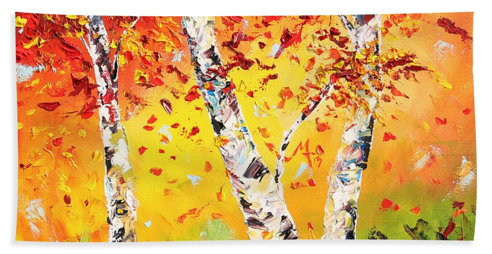 Autumn Bath Towel featuring the painting The Change by Meaghan Troup