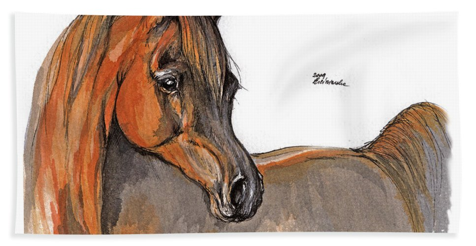 Chestnut Horse Hand Towel featuring the painting The Chestnut Arabian Horse 2a by Angel Ciesniarska