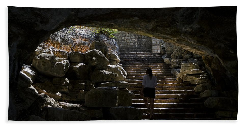 Grotto Hand Towel featuring the photograph The Child Ascends by Greg Reed