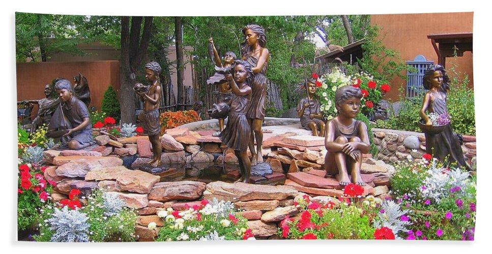New Mexico Bath Sheet featuring the photograph The Children Sculpture Garden - Santa Fe by Dora Sofia Caputo Photographic Design and Fine Art