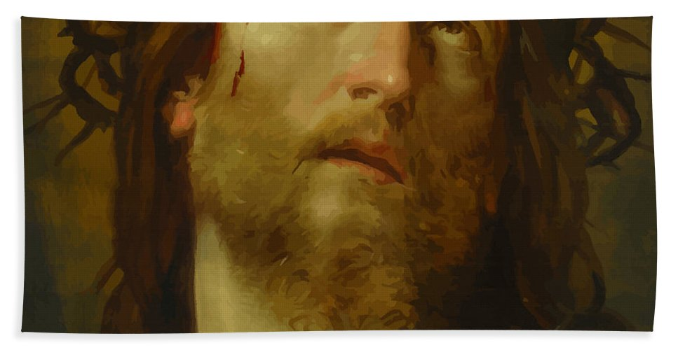 Retouched Bath Sheet featuring the digital art The Chosen One - The Son Of God Who Died On The Cross For Your Sins by Don Kuing