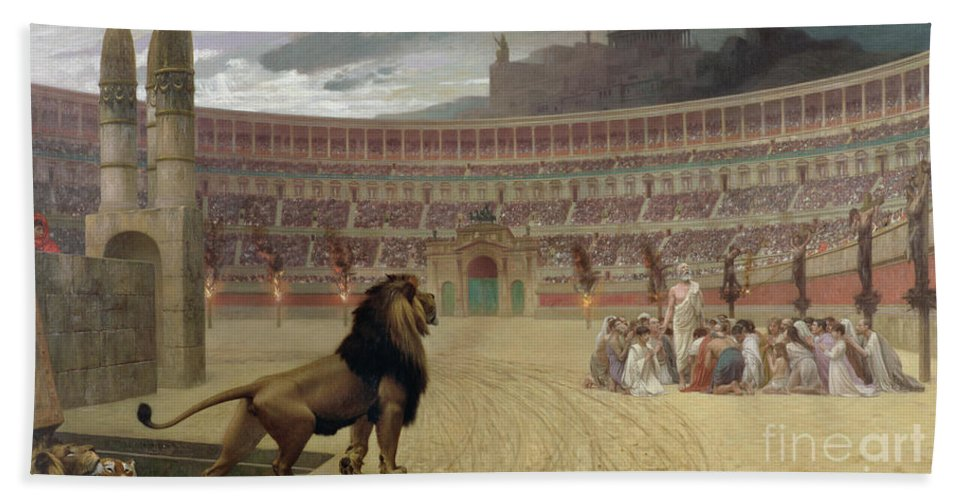 Arena; Stadium; Lion; Trap Door; Death; Martyr; Martyrdom; Roman; Praying; Christian; Rome; Kneeling; Crucifixion; Crucifix; Crowd; Spectators; Religious Persecution; Amphitheatre; Ramp; Forum; Martyr Bath Sheet featuring the painting The Christian Martyrs Last Prayer by Jean Leon Gerome